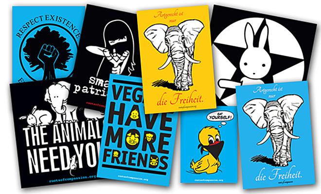 Neue Sticker, die ihr bei roots of compassion erhaltet.