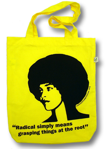 yellow bag shows image of Angelas Davis und the quote 'radical simply means grasping things at the root'