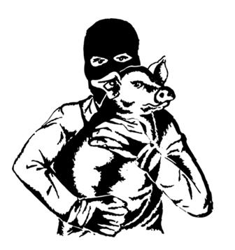Tierbefreiungsmotiv - Mensch mit befreitem Huhn