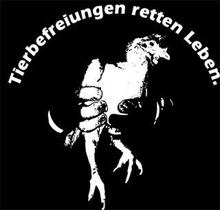 Tierbefreiungen retten Leben - animal liberation saves lives. Picture with a liberated hen.