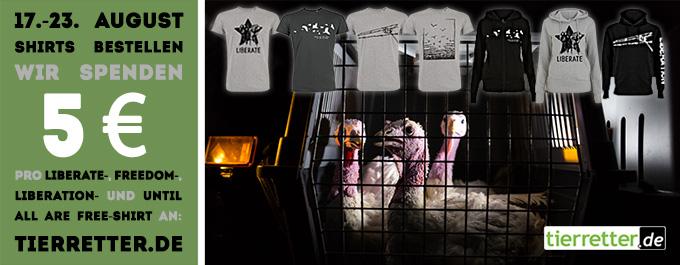Eine Woche lang spendet roots of compassion für jeden Kauf aus einer Auswahl schicker Shirts jeweils 5 € an tierretter.de