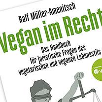 Ausschnitt aus dem Cover von 'Vegan im Recht'. mit Justitia auf der Titelseite