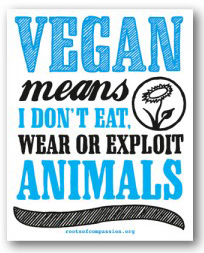 Abbildung des vegan means- Stickers mit dem Text vegan means I don't eat wear or exploit animals