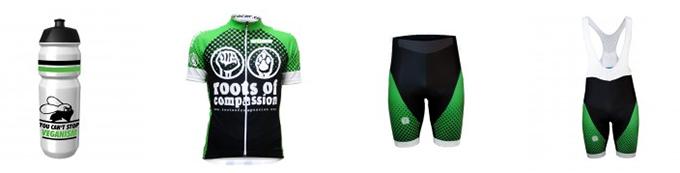Radtrikot, Radhosen und Trinkflasche des roots of compassion vegan cycling teams