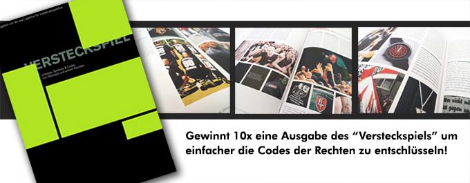 Abbildung des Heftes 'Versteckspiel' und Blicke auf ein paar Seiten des Hefts mit Fotos von Nazisymbolen. Das Heft kann 10mal bei roots of compassion gewonnen werden!
