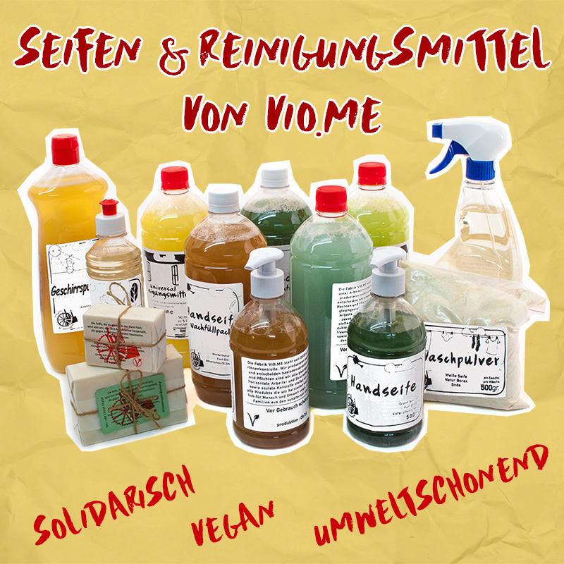 Übersicht über die Reinigungsmittel und Seifen von Vio.Me.