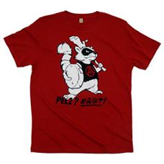 Das frühere Waschbärshirt - rot mit einem grimmigen Waschbär, der etwas gegen Pelz hat ...