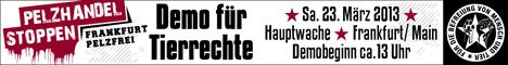 Banner für die Demo für Tierrechte am 23. März in Frankfurt