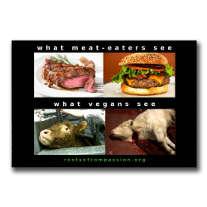 Abbildung von Fleischgerichten, denen Bilder ausgebeuteter Tiere gegenübergestellt sind.