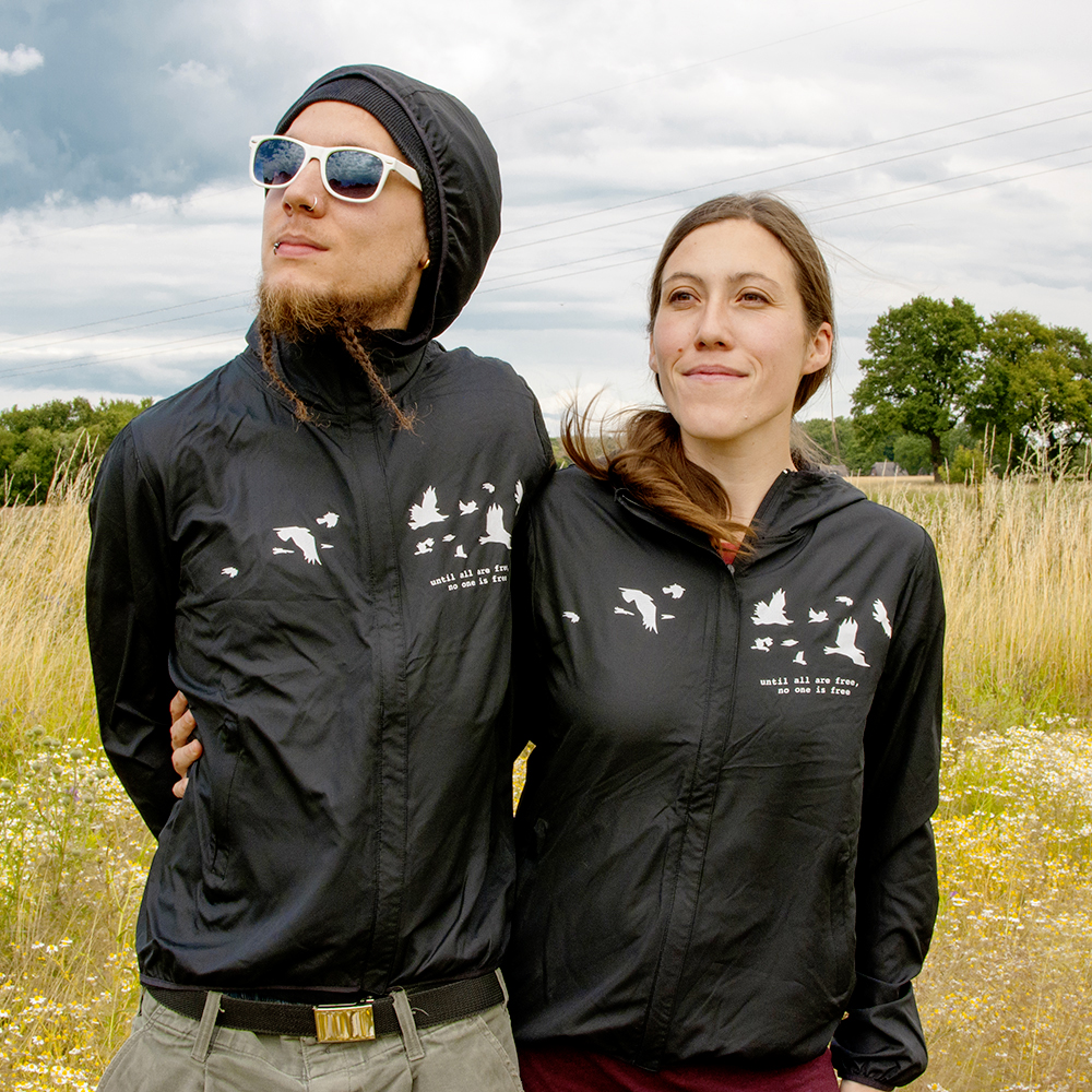 The new windbreakers from roots of compassion, presented by Simon and Sonja