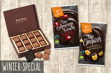 Winter Special's back: Booja Booja pralines and fruit in chocolate