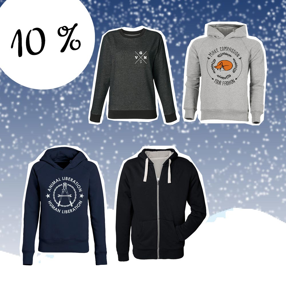 three hoodies and jackets from roots of compassion