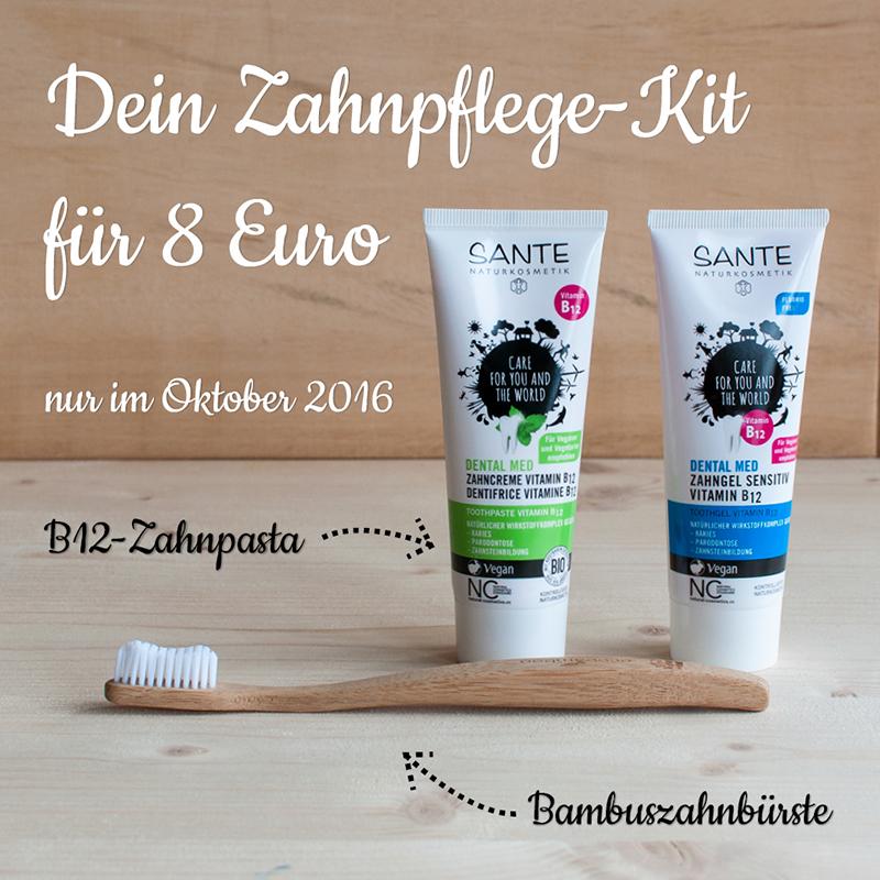 B12-Zahnpasta und Bambuszahnbürste für 8 Euro.